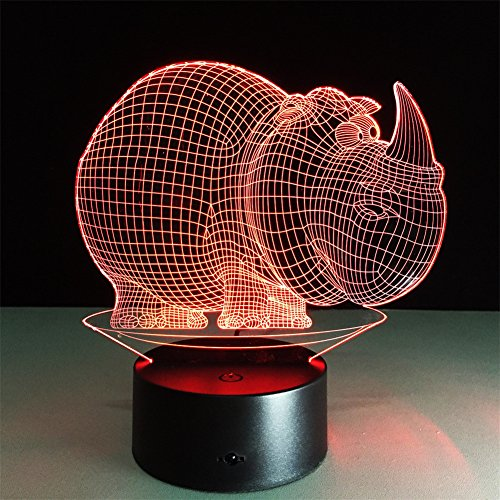 ATD® Cute Fat Rhinoceros Modern 3D Stereoscopic Effects 7 Colors Change Touch Botton LED Table Lamp