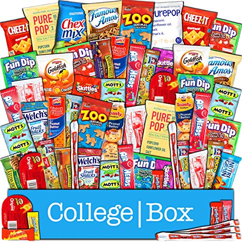 CollegeBox Snacks 60 Count Ultimate Care Package Variety Box Gift Pack Assortment Basket Bundle Mixed Bulk Sampler Treats Bars Chips Candy Cookies College Finals Students Office Trips Mothers Day Boy ()