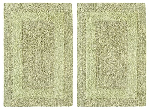 - Cotton Craft 2 Piece Reversible Step Out Bath Mat Rug Set 17x24 Sage, 100% Pure Cotton, Super Soft, Plush & Absorbent, Hand Tufted Heavy Weight Construction, Full Reversible, Rug Pad Recommended