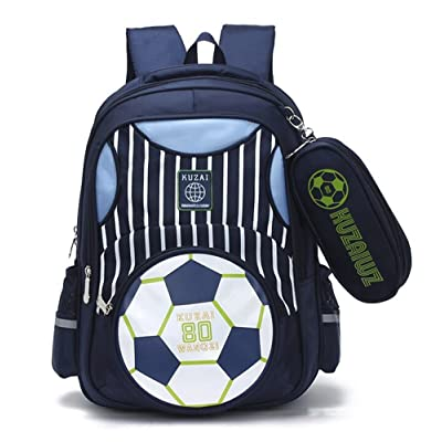 Mysticbags Boys Backpack Soccer Printed Kids School Bookbag for Primary Students Dark Blue | Kids' Backpacks