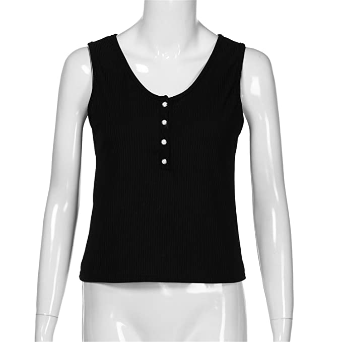 f28a6a5dc76c Jongood Stylish Women Tank Top Solid Ribbed Sleeveless Bodysuit Bottom  Ladies Tank Tops in Black at Amazon Women s Clothing store