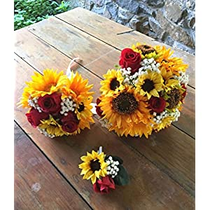 Sweet Home Deco Silk Sunflower Rose Babysbreath Wedding Bouquet Bridal Bouquet Bridesmaid Bouquet Boutonnere in Yellow/Red 16