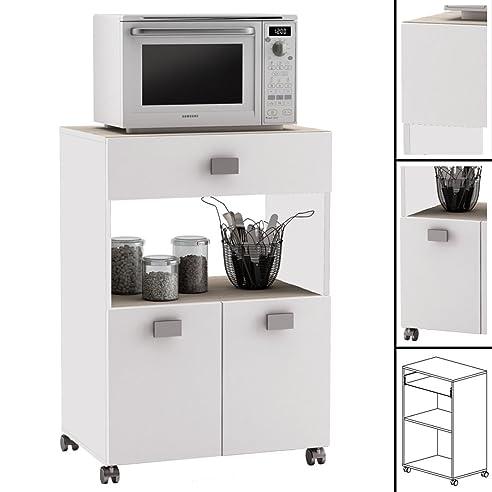 Küchenwagen #145 AKAZIE WEISS Küchentrolley Rollen Schublade ...