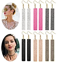 LOLIAS 6 Pairs Bar Leather Earrings Set for Women Girls Bohemia Dangle Drop Earring