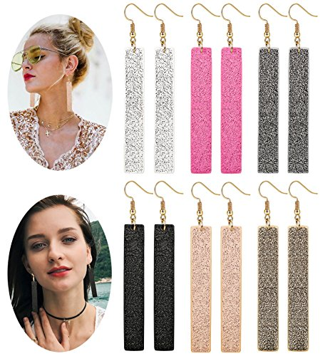 LOLIAS 6 Pairs Bar Leather Earrings Set for Women Girls Bohemia Dangle Drop Earring -