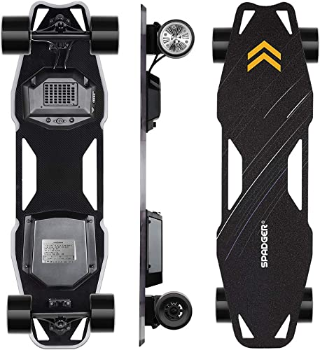 Spadger Electric Skateboard, D5X Plus 35 Portable Longboard Skateboard, 23Mph 900W Dual Motor, 12 Miles Range, Load up to 264Lbs, with Wireless Remote Control APP Control Bulit-in LED Lights