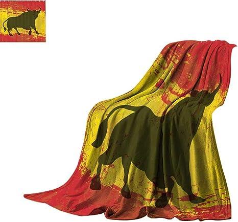 Manta ligera con diseño de bull español, símbolo envejecido y bandera española con diseño de bandera de España con clip digital para decoración, color rojo y amarillo, para cama o sofá de