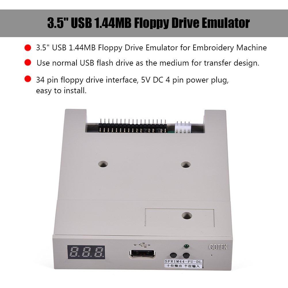 Richer-R Emulador de Disquetera USB,Unidad de Disco Unidad Flash USB 1.44MB(Interfaz de 34 Pines,Conector de alimentación de 4 Pines,5 V,500 kbps: ...