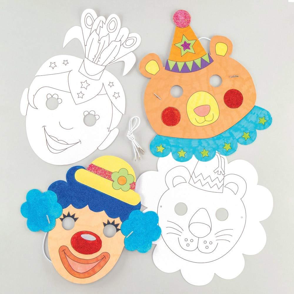 M/áscaras para Colorear Color Blanco Baker Ross Ltd AW483 Circus