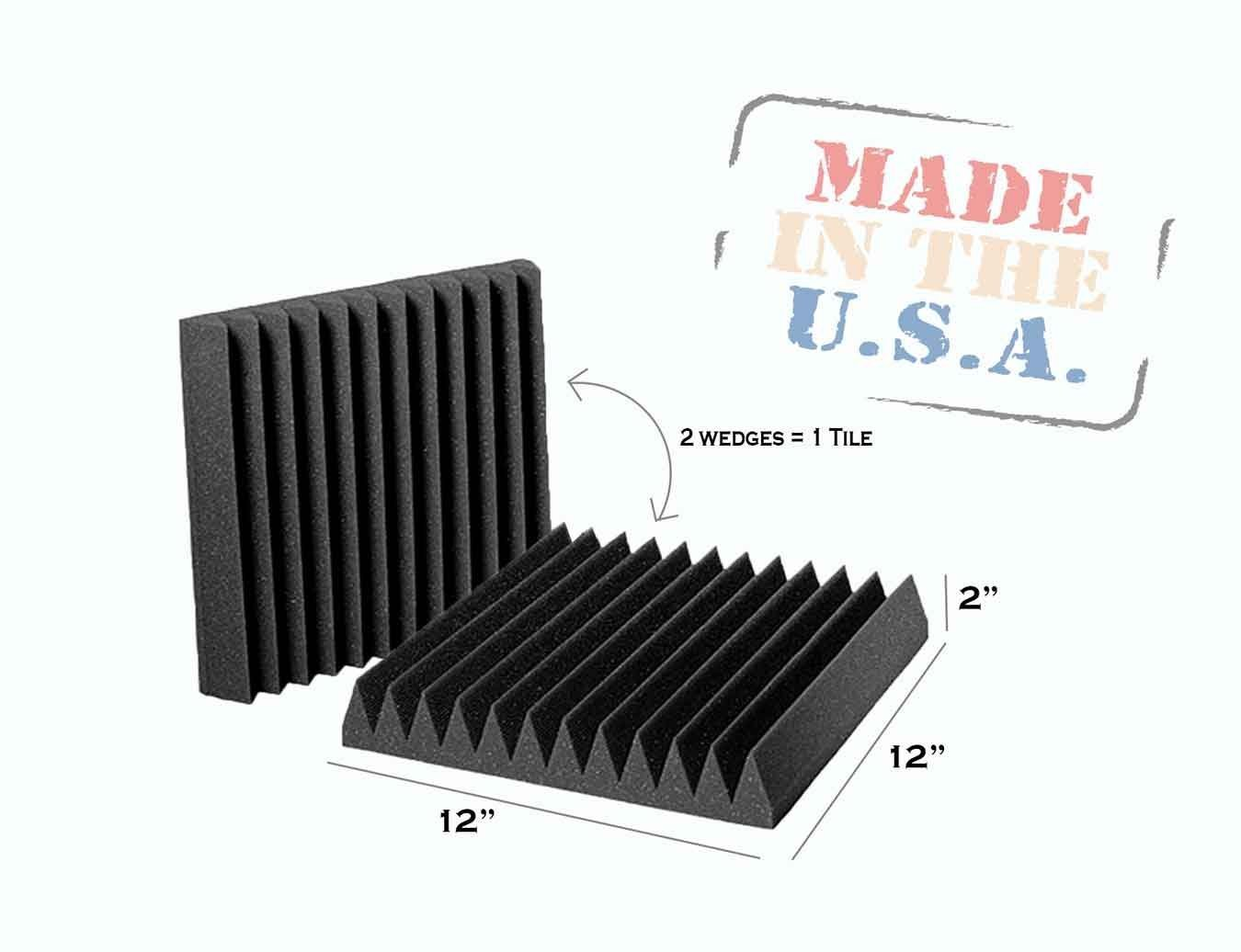 AK TRADING 2 Pack Charcoal Acoustic Panels Studio Foam Wedges 2 x 12 x 12 Inches AK TRADING CO.