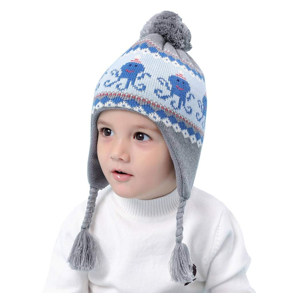 Home Prefer Toddler Winter Hat Earflaps Cold Weather Snow Ski Hat for Boys L