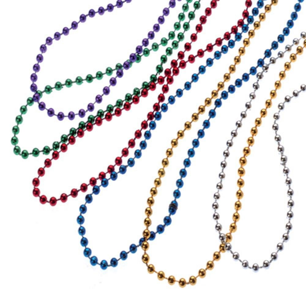 U.S. Toy JA645 Metallic Bead Necklaces, 4mm