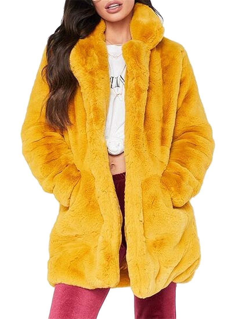 MOUTEN Women Plus Size Loose Winter Solid Warm Faux Fur Cardigan Coat Outerwear