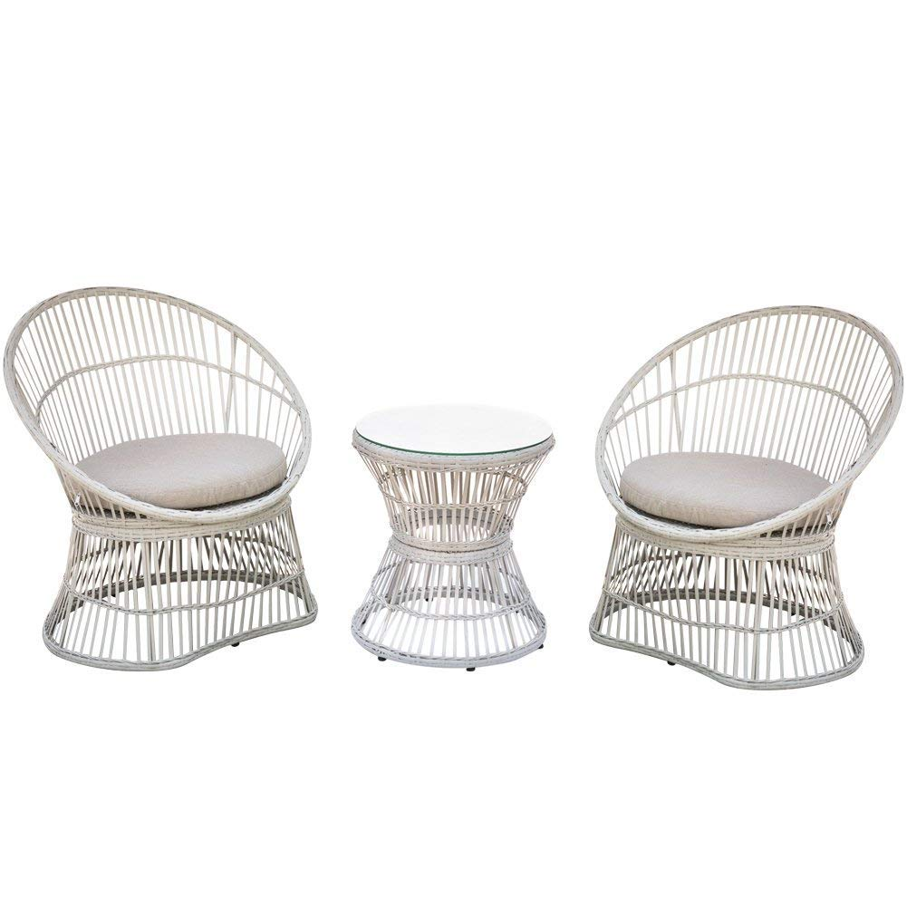 CDM product PatioPost Patio Furniture Set 3 Pcs Outdoor Garden Wicker Chairs with Table/Cushions Conversation Set Hollow Base big image