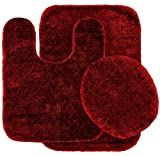 Red Bathroom Mat Set Garland Rug 3-Piece Traditional Nylon Washable Bathroom Rug Set, Chili Pepper Red