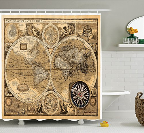 World Map Shower Curtain Set Wanderlust Decor by Ambesonne, Old Map (1626) A New And Accvrat Map Of The World Historical Manuscript, Bathroom Accessories, 69W X 70L Inches, With Hooks, Brown Beige