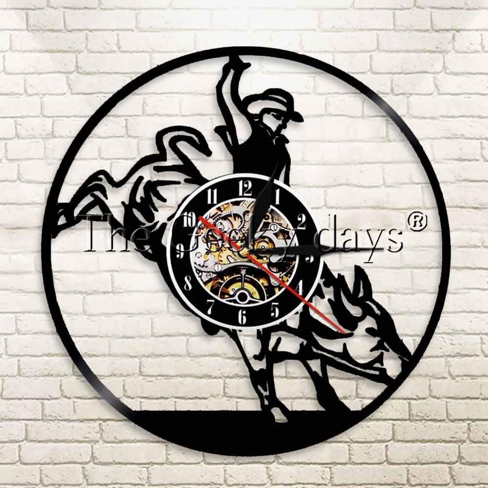 Luz de noche cuadrada 1 pieza toro jinete caballo vaquero paisaje arte reloj de vinilo reloj matador luminoso reloj de pared silla de montar mural moderno led lámpara de mesa al aire libre