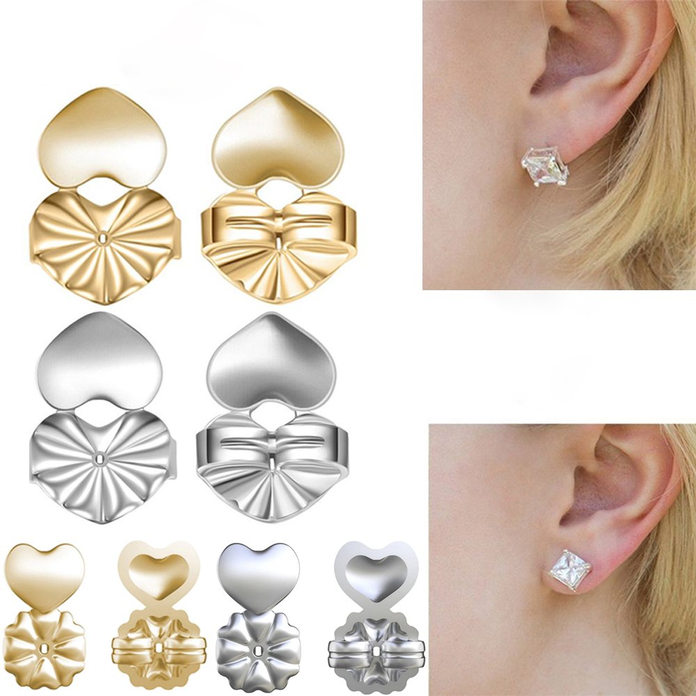 Gomech 4 Pairs Magic Bax Earring Backs Hypoallergenic Fits all Post Earrings Jewelry Accessories Earring Lifts for Women and Girls (2 Golden+2 Silvery)