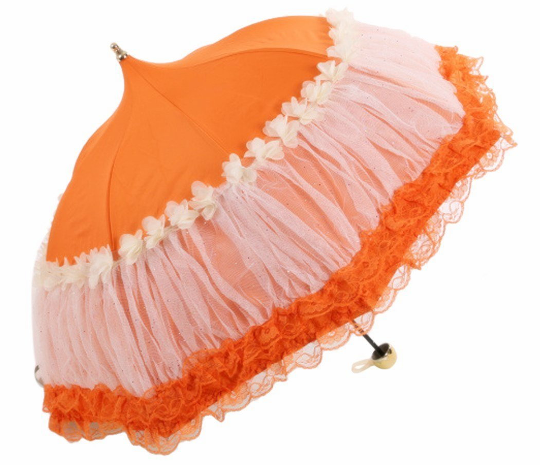 Honeystore Pagoda Parasol 3 Folding Lace Totes Sun Rain Wedding Ruffle Umbrella Orange