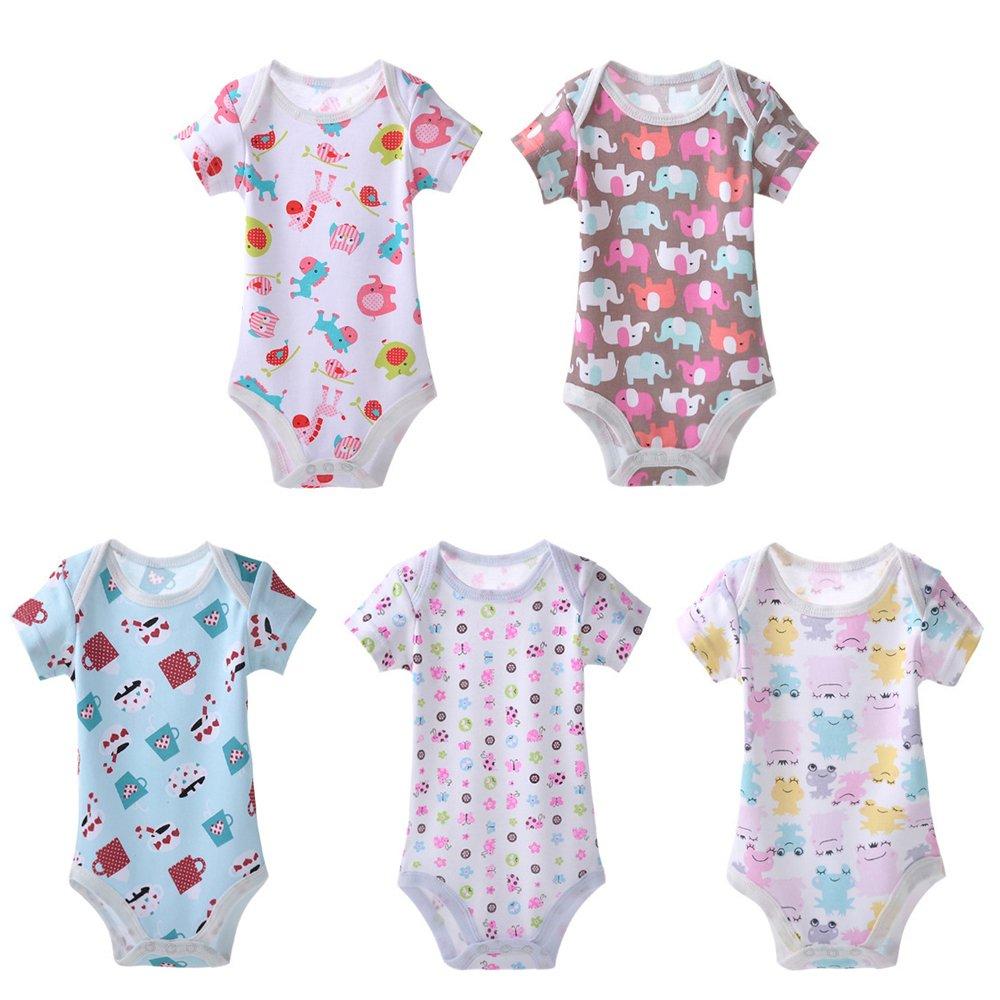 KINDOYO Confezione da 5 Baby 100% Cotone Manica lunga / corta / sleeveless Body fumetto infantile vestiti rampicanti pagliaccetto ragazzi ragazze