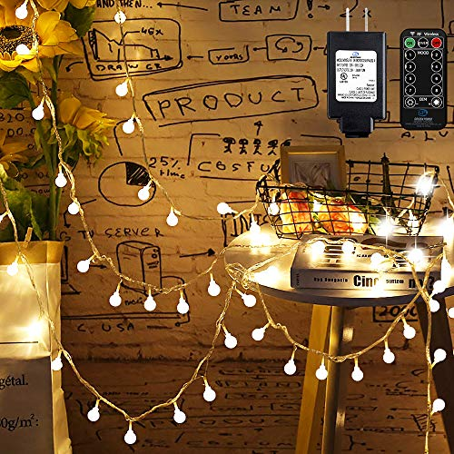 Mikikin Globe String Lights, 49ft 100 LED Warm White Fairy String Lights Waterproof with 8 Modes, Remote & Timer, UL Listed Plug in String Light Perfect for Indoor, Outdoor, Patio, Bedroom Decoration (Outdoor White Globe Lights)