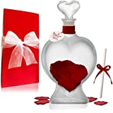 Romantic 9.5 Inch Heart Shape Crystal Clear Glass Message in a Bottle Gift – Perfect Gift for Birthdays, Engagements, Anniversaries, Sweetest Day, Valentine's Day, Personalized Keepsake and more !