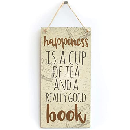 Mr.sign Happiness is a Tea and Book Cartel de Pared Madera ...
