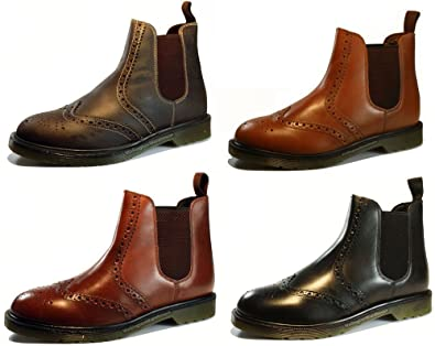 1980f35320a Oaktrak Belper Mens Brown or Black Brogue Leather Chelsea Dealer Boots with  Air Sole