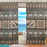 SUABO 2PCS Ultra Luxurious Window Gauze Curtains, Polyester Washable Sheer Window Curtain Panels for Bedroom Living Room 55″W x 78″L – (Set of 2 Panels), Ethnic African Geometrically Elements giraffe For Sale