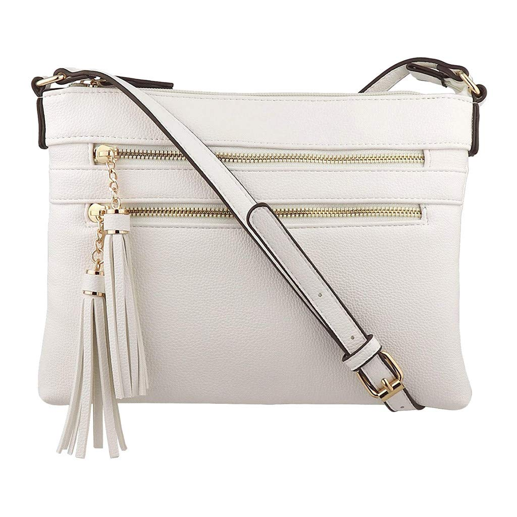 Fashion Women Zipper Solid Color Tassel Shoulder Bags Messenger Bag Phone Bag
