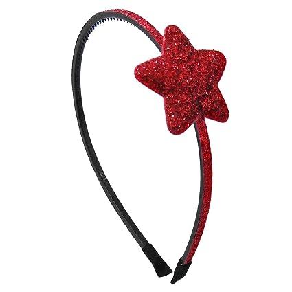 offerta speciale design innovativo qualità autentica 356-802 - Cerchietto per capelli bambina cm 0,5 con stella bombata glitter  cm 4 - Cerchietti per capelli bimba (Rosso)