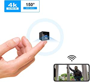 Mini Spy Camera 4K Wireless Hidden Camera Portable HD WiFi Nanny Cam with Night Vision and Motion Detection Smallest Security Surveillance Camera with Phone App for Indoor/Home/Apartment/Office