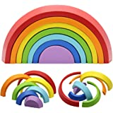 MorTime Wooden Rainbow Stacker, Tunnel Stacking Game, Jigsaw Puzzles Educational Toys, Shape Matching Learning Toy Set…