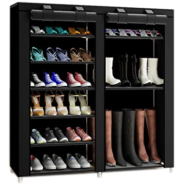 TXT&BAZ 27-Pairs Portable Boot Rack Double Row Shoe Rack Covered with Nonwoven Fabric(7-Tiers Black)