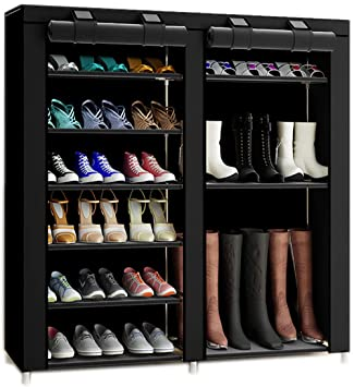 e783b760984 TXT&BAZ 27-Pairs Portable Boot Rack Double Row Shoe Rack Covered with  Nonwoven Fabric(7-Tiers Black)