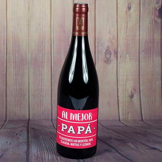 Calledelregalo Regalo Personalizable para Padres: Botella de Vino para el Mejor papá Personalizada con dedicatoria: Amazon.es: Hogar
