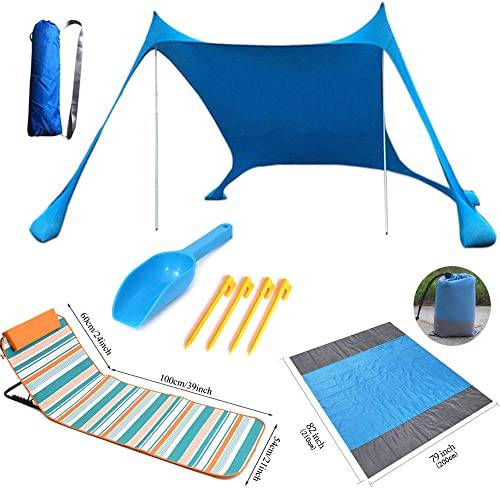 Lateefah Pop Up Beach Tent, Lightweight Sun Shelter with Beach Blanket, Portable Beach Canopy, Outdoor Camping Sunshade, Windproof Beach Shade for Family, Camping, 83x83x63Inch Blue, Tent Chair