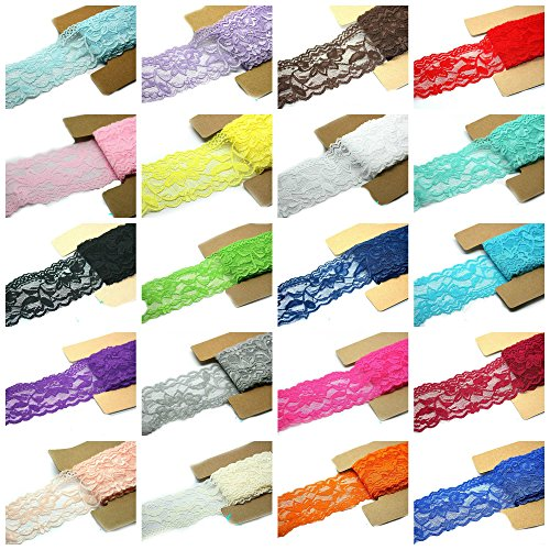 Elastic Trim (Lace Fabric Stretch Elastic JLIKA Brand 2.25 inches Wide Trim Lace for Headbands Garters Variety Pack Mix Colors Grab Bag As pictured 20 Colors 1 Yard Each)