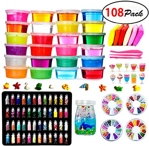 DIY Fluffy Slime Kit – 24 Colors Slime Kits for Girls Boys Toys with 48 Glitter Powder,Clear Slime Supplies for Kids Art Craft,Includes Air Dry Clay, Fruit Slices and Tools,Squeeze Stress Relief Toy by Kiddosland