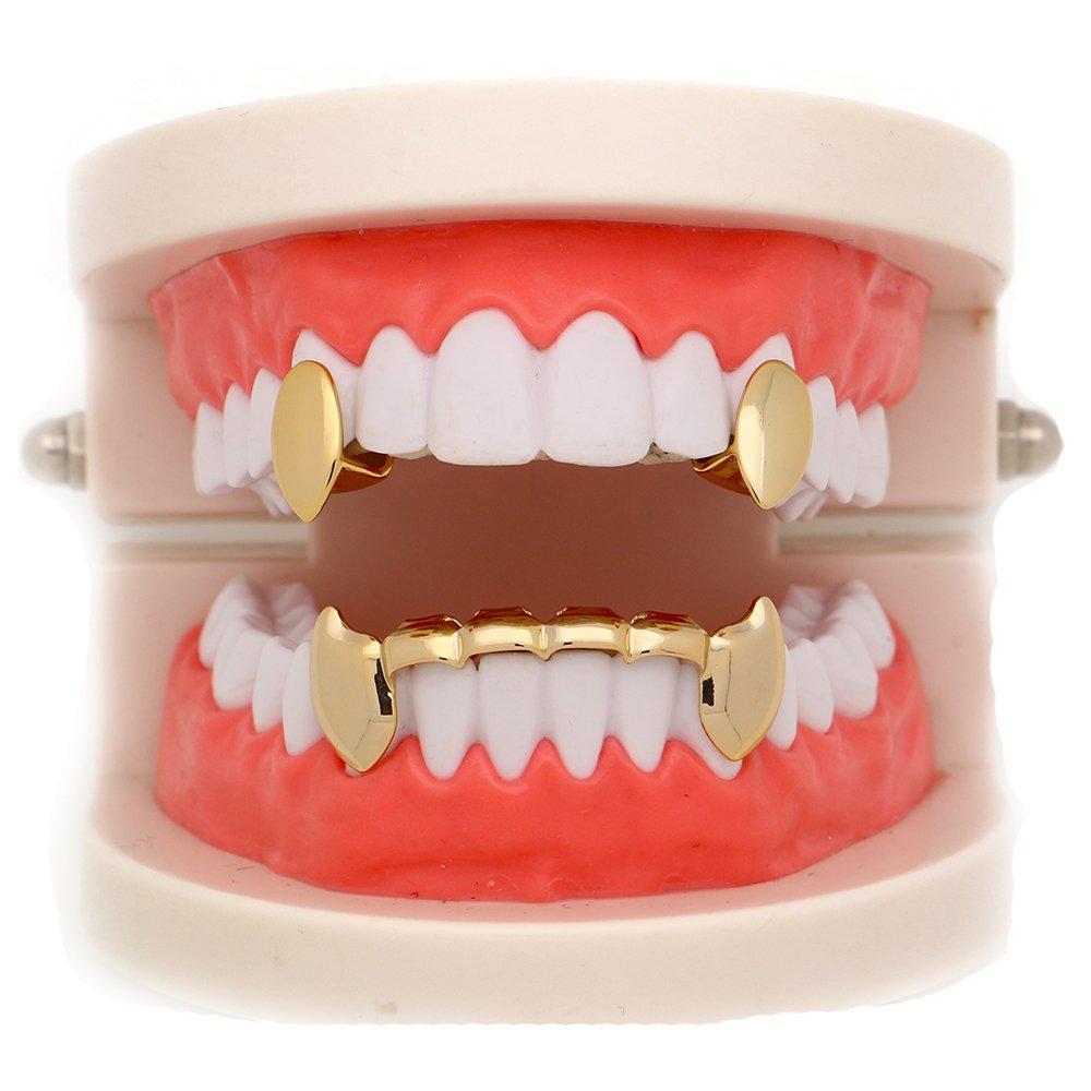 Lureen 14k Gold Vampire Dracula Teeth Grills 2pc Single Fangs and 6 bottom Set LD0061