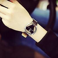 Fenebort Reloj Reloj de Moda con dial Triangular Ahuecado único, Correa de Reloj de Cuero, clásico, Moda, Regalo de San Valentín