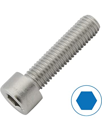 Tornillo cil/índrico de acero inoxidable V2 A M8 mm de grosor 50 mm longitud de los tornillos 25 unidades 28 mm rosca interior hexagonal M8 x 50