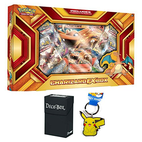 Pokemon Charizard EX Fire Blast Premium Collection Box with Charizard EX Promo Card, Oversized Jumbo Charizard EX Card, 4 Pokemon Booster Packs, Pikachu Keychain and Ultra Pro Deck Box Bundle (Mini Deck Prism)