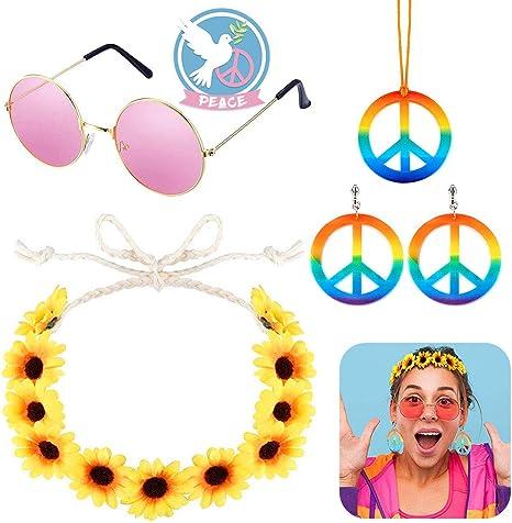 XCOZU Accesorios Hippies, Conjunto de Disfraz Hippies Incluir 1 Artículo Collar Hippie Colgante Hippie y 2 Artículo Aretes, 1 Artículo Rosa Gafas Hippie y Diadema de Girasol Utilizado para Fiestas: Amazon.es: Juguetes