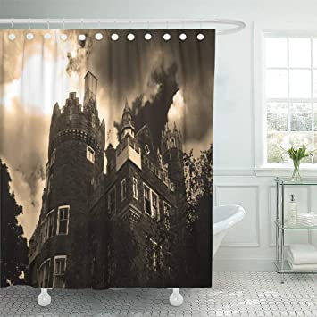 Shower Curtain Set Waterproof Adjustable Polyester Fabric Gray House Creepy Halloween Haunted Mansion Vampire Inches
