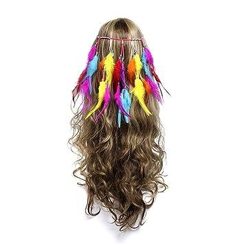 2aab59031299a Yiwuhu Chapeau de mariée élégant pour Femmes Mascarade Boho Plume Bandeau  Hippie Réglable À La Main