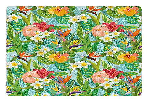 Dog Hawaiian Ginger (Lunarable Leaf Pet Mat for Food and Water, Vintage Cartoon Style Image of Hawaiian Flowers Crepe Gingers, Rectangle Non-Slip Rubber Mat for Dogs and Cats, Baby Blue Fern Green Peach Pink)
