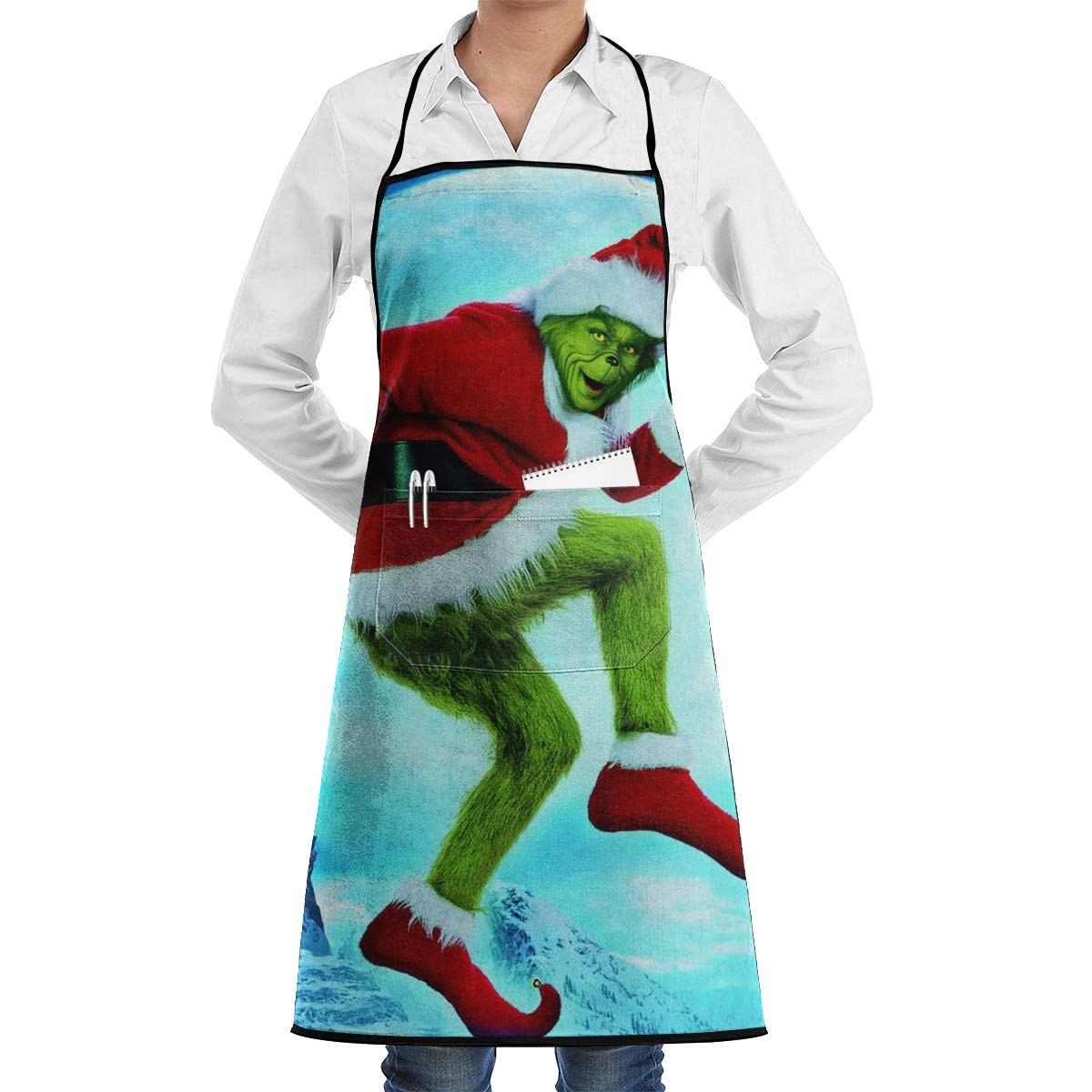 Home Bib Kitchen Aquaculture Art Apron with Pockets The Grinch Stole Christmas for Shop Cooking BBQ Aprons Woodwork for Chef Craftsmen Painter Artist Painters School Students, Utility Or Work Apron