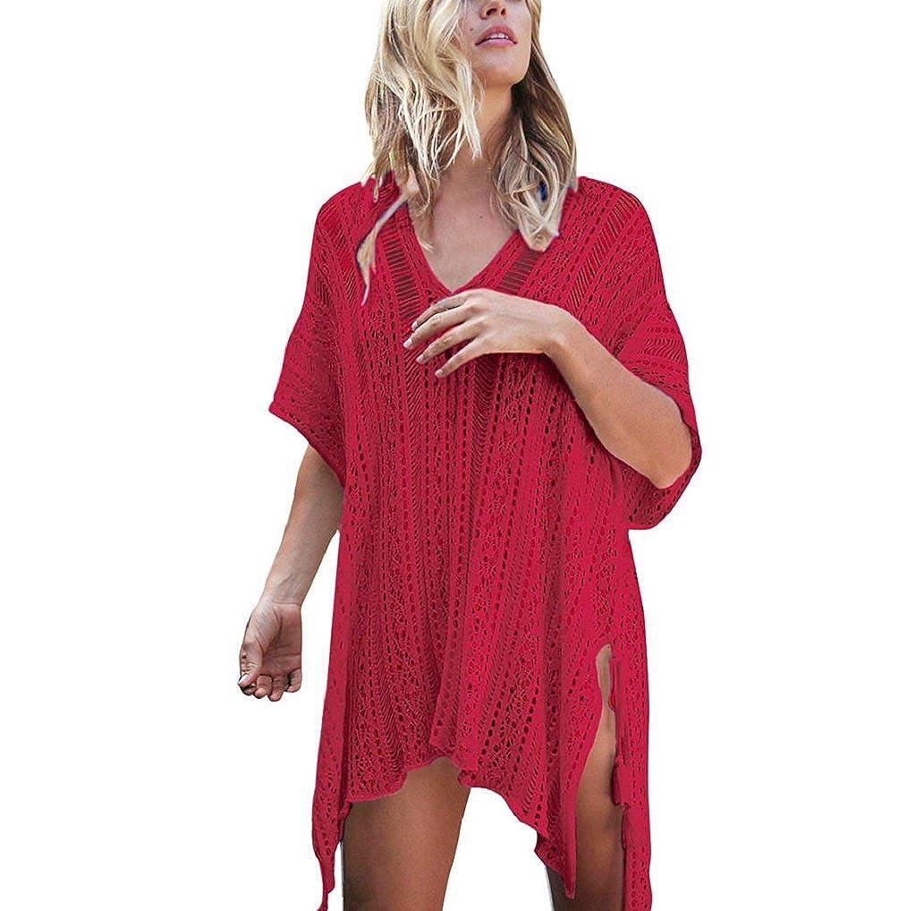 a840a31d74 TUDUZ Elegant Women Bathing Beach Cover Up Dress Bikini Swimsuit Swimwear  Crochet Smock One Size)