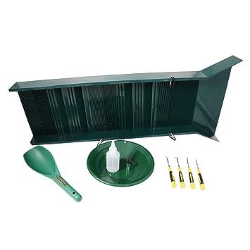 ASR Outdoor lavado caja oro Kit de prospección sartén Vial Copa mango ganchos 6pc: Amazon.es: Deportes y aire libre